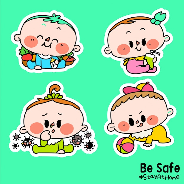 Kids be safe stay at home corona covid-19 campaign sticker illustration c Premium Vector
