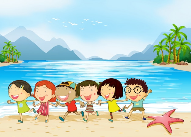 Kids at the beach Free Vector