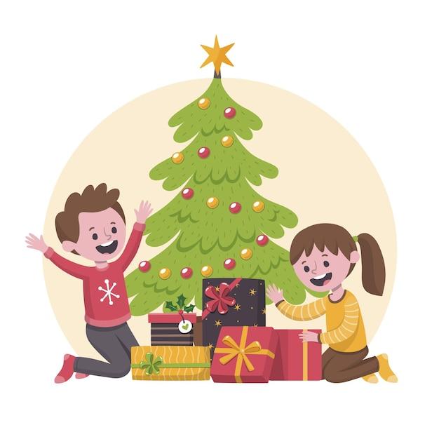 I bambini sono felici dopo aver ricevuto i regali di natale Vettore gratuito