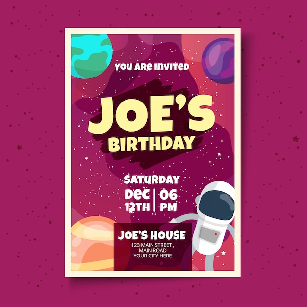 Kids Birthday Card Invitation Design Template Vector