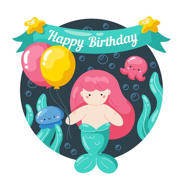 Kids birthday card with little mermaid and marine life Premium Vector
