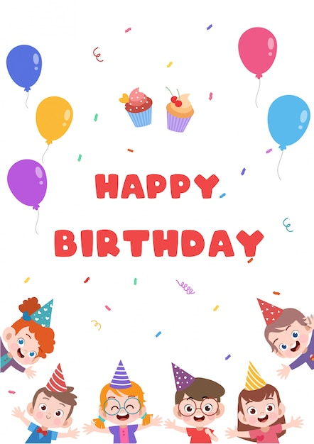 Astonishing Kids Birthday Card Premium Vector Funny Birthday Cards Online Fluifree Goldxyz