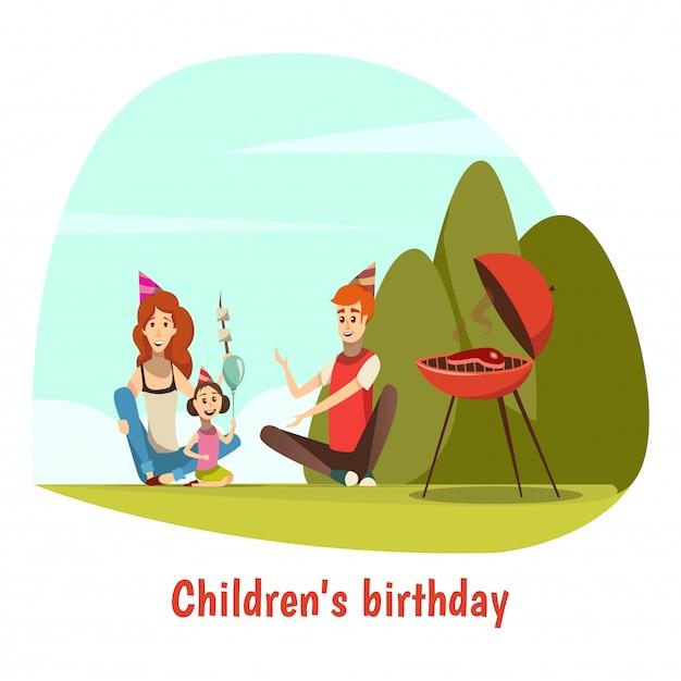 Kids birthday celebration composition Free Vector