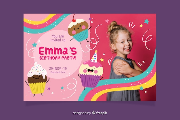 Kids birthday invitation template with photo Free Vector