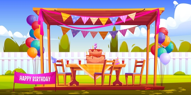 Kids birthday party decoration on house backyard Free Vector