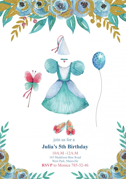 Kids birthday party invitation card with blue little princess dress, beautiful shoes and flowers Premium Vector