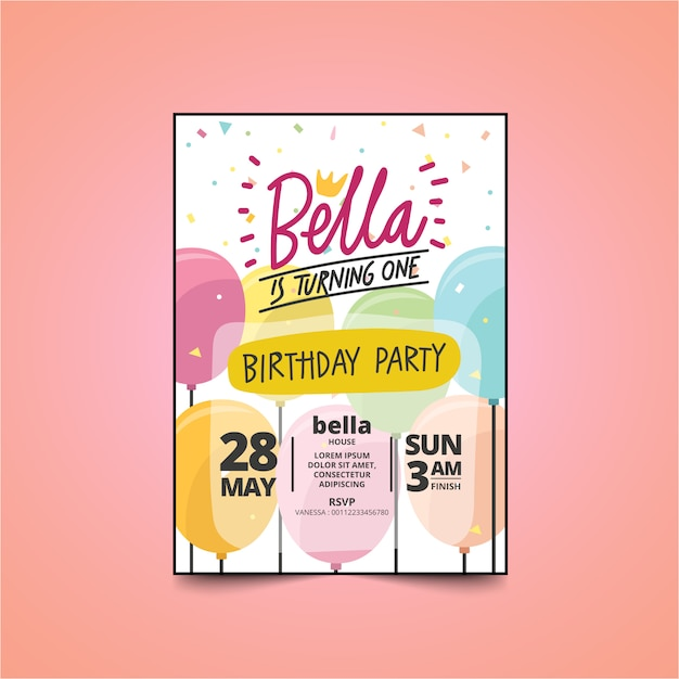 Kids Birthday Party Invitation Card With Cute Design