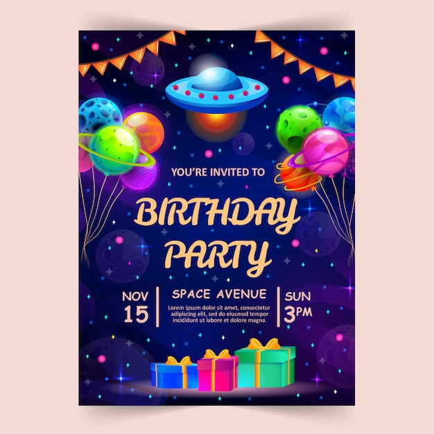 Kids birthday party invitation card with cute little planets and ufo. Premium Vector