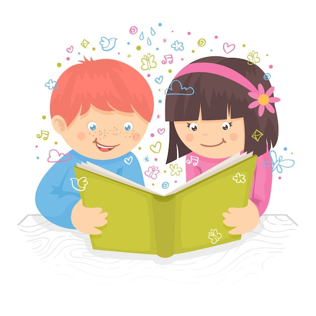 Kids boy and girl reading the book on table poster vector illustration Free Vector