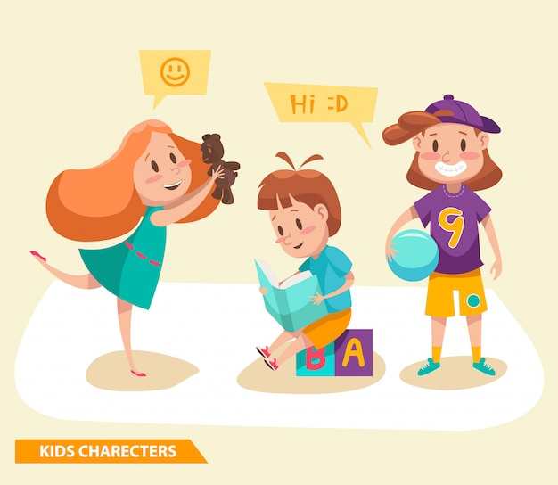 Kids boys and girls playing characters design Premium Vector