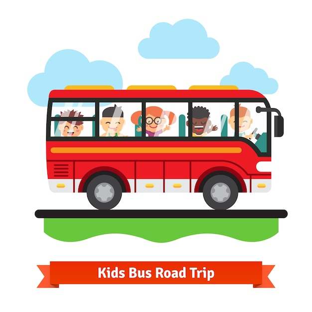 Kids bus road trip Free Vector