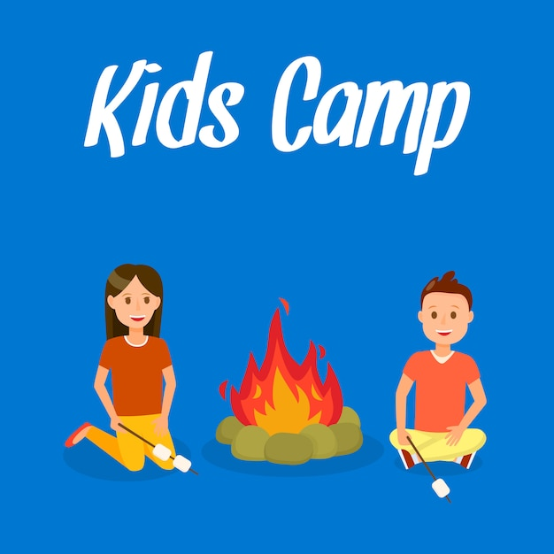 Kids camp vector travel postcard with lettering. Premium Vector