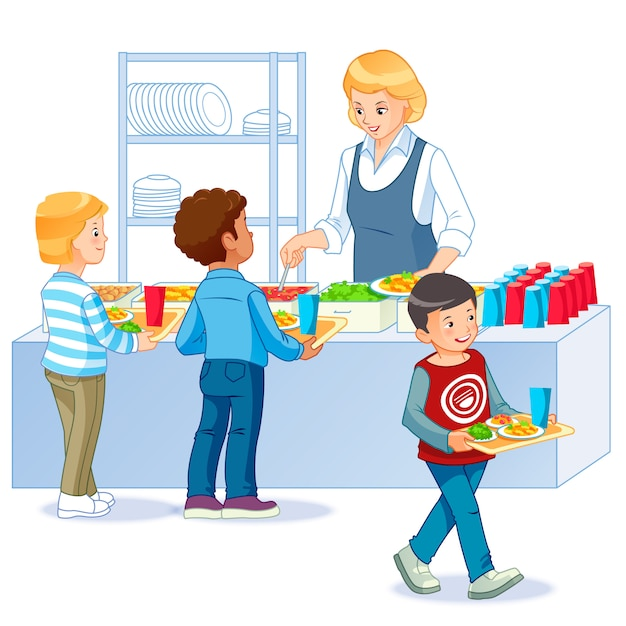 Kids in a canteen buying and eating lunch Premium Vector