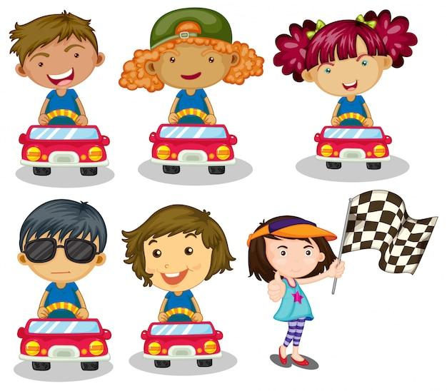 Kids car racing Free Vector