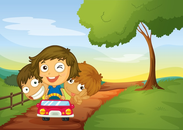 Kids and car Free Vector