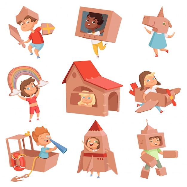 어린이 골판지 의상. 종이 상자 만들기 집 자동차와 비행기와 함께 활동적인 게임에서 노는 아이들 프리미엄 벡터
