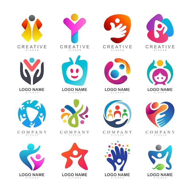 Kids care logo collection Premium Vector