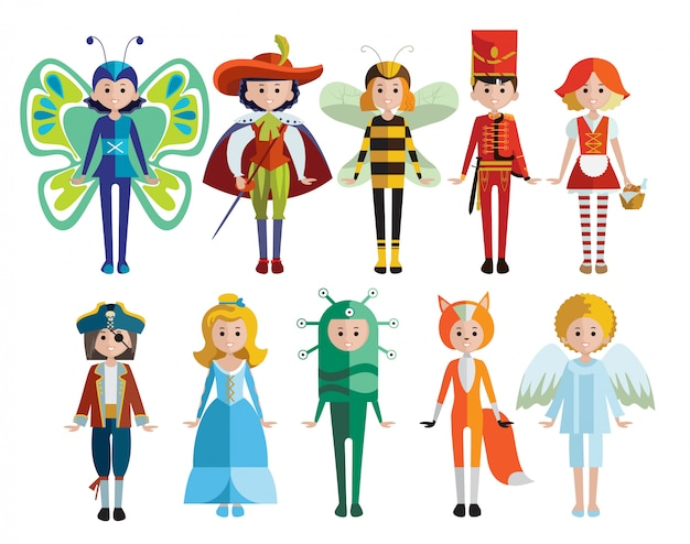 Kids and carnival costumes collection Free Vector