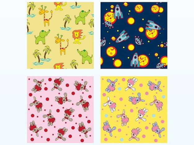Kids cartoon animals vector patterns