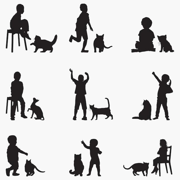 Дети кошки силуэты Premium векторы