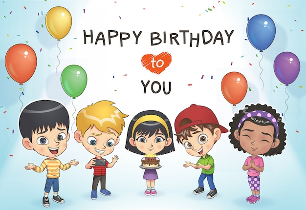 Kids celebrate birthday Premium Vector