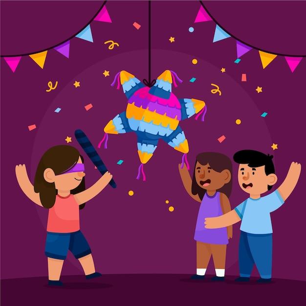 Bambini che celebrano le posadas Vettore gratuito