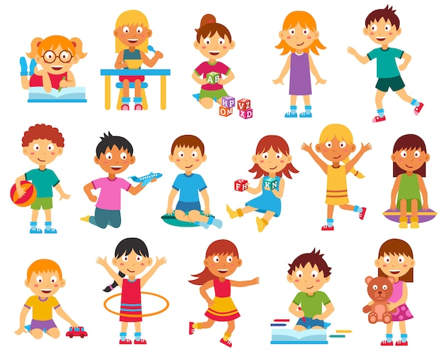 Kids character set Free Vector