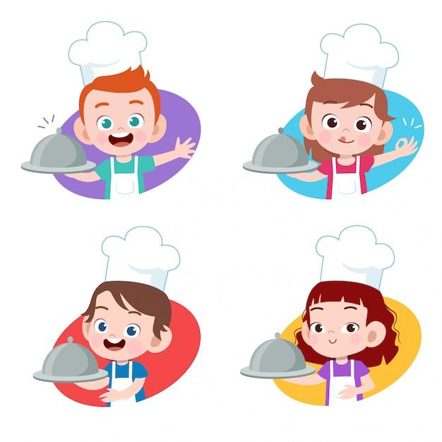 Kids chef cooking Premium Vector