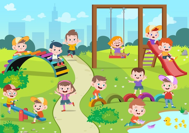 Kids children playing playground illustration Premium Vector