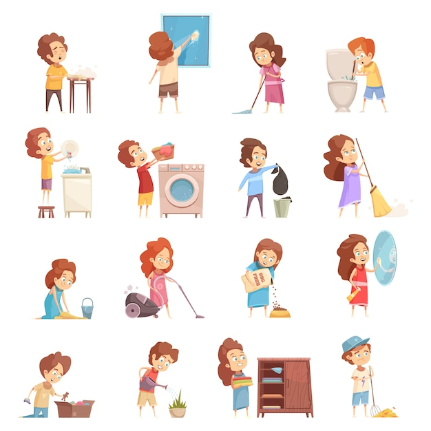 Kids cleaning cartoon icons set Free Vector