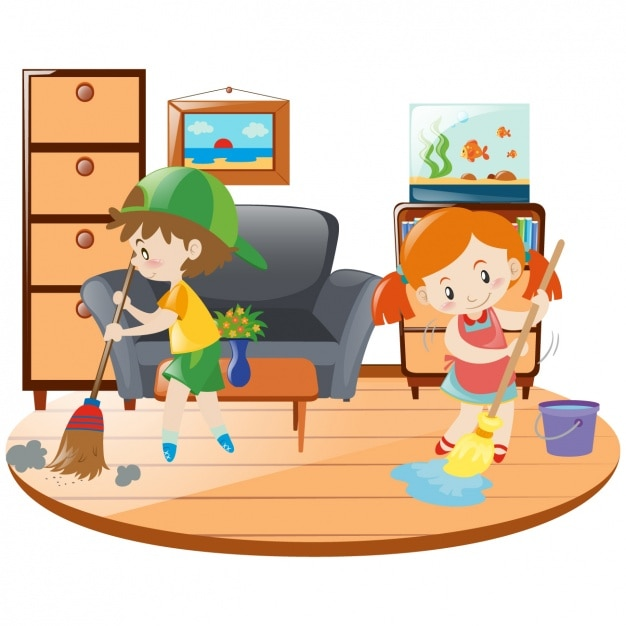 Cleaning The House kids cleaning the house vector | free download