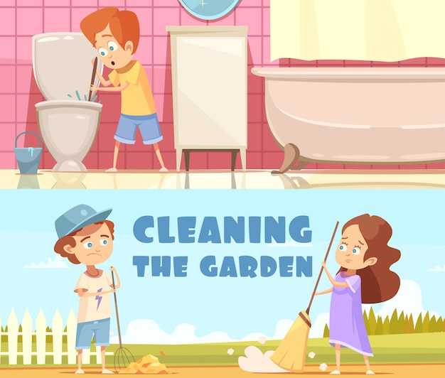 Kids cleaning toilet bowl in bathroom and helping in garden 2 horizontal cartoon banners isolated Free Vector