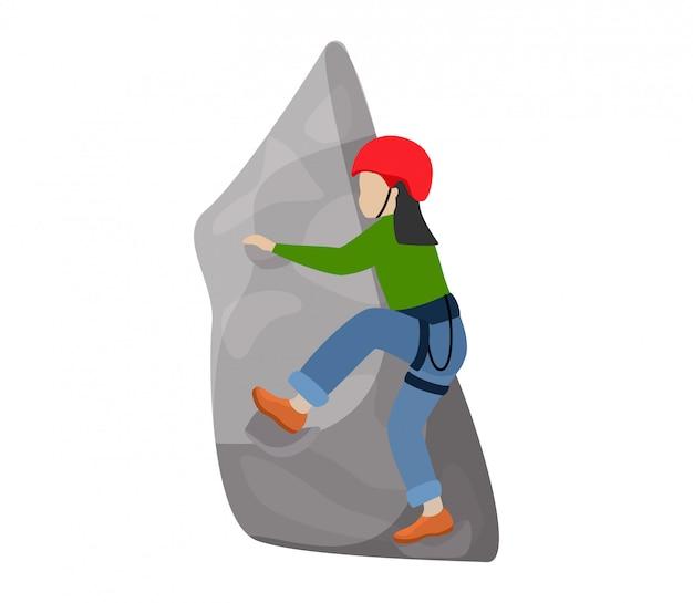 登山家の子供たちのキャラクターを登る子供たちは白い背景の上の極端なスポーツの登山家で子供の山の岩の壁や山岳崖の図登山セットを登る Premiumベクター
