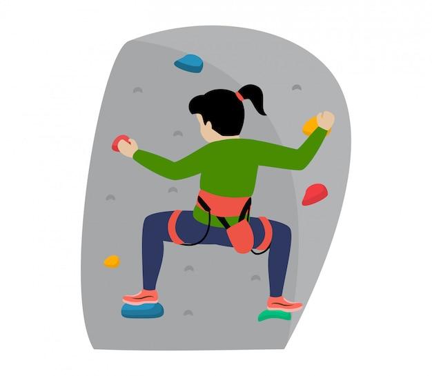 Дети альпинист альпинист дети персонаж поднимается рок горная стена или гористый утес иллюстрация альпинизм набор ребенка в экстремальных видах спорта альпинист на белом фоне Premium векторы