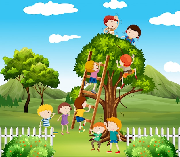 Kids climbing up tree in the park Free Vector