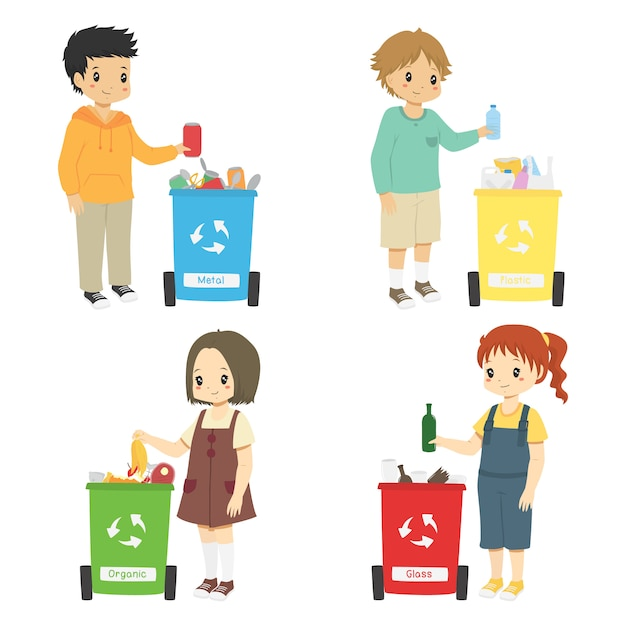 Kids collecting trash for recycling. sorting trash set Premium Vector