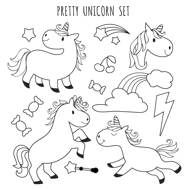 - Premium Vector Kids Coloring Page. Unicorn Set For Coloring Book