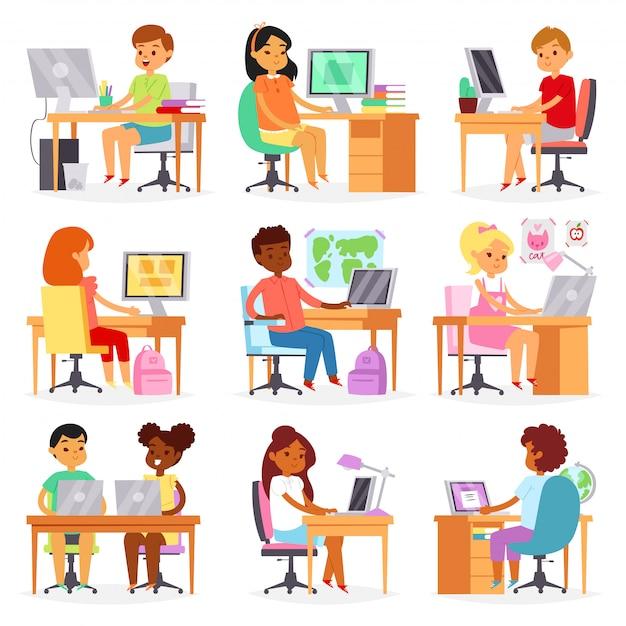 白い背景の上の教室に座っている女子高生と男子生徒の学習クラスの学校イラストセットでノートパソコンでレッスンを勉強して子供コンピューター子供 Premiumベクター