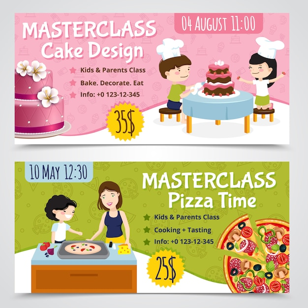 Kids cooking horizontal banners set of two cartoon show bills pizza and cake with editable text vector illustration Free Vector