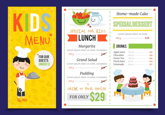 Kids cooking illustration menu with flat artwork doodle style children cook characters and editable menu items vector illustration Free Vector