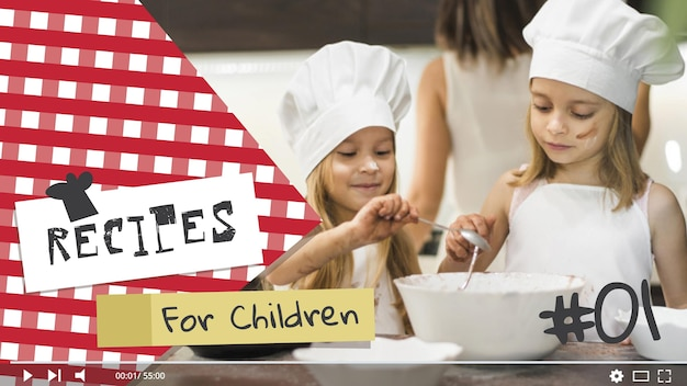 Kids cooking youtube thumbnail Free Vector