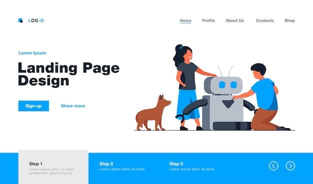 Kids creating or using robot. dog, pet feeding machine, children. flat  illustration