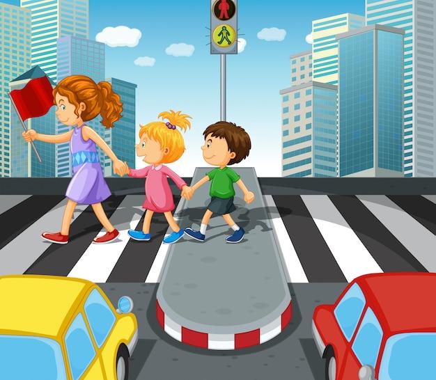 Kids crossing the road at zebra crossing Free Vector