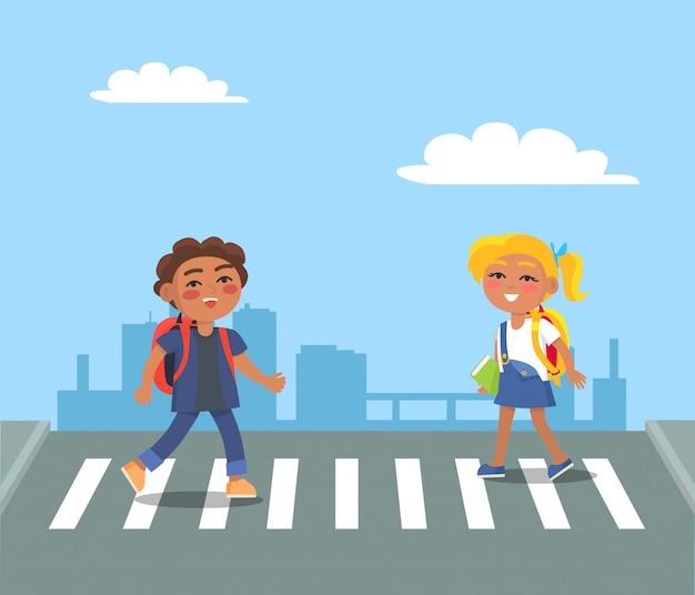 Kids crossing street on pedestrian in urban city Premium Vector