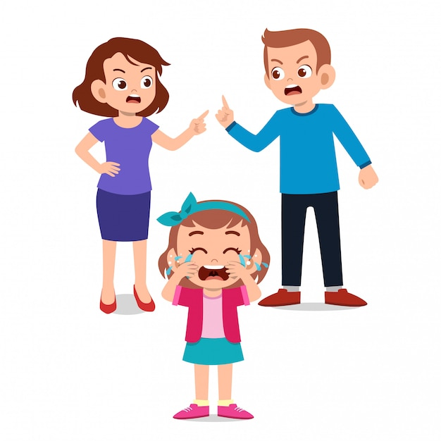Premium Vector Kids Cry With Parent Fighting Ague