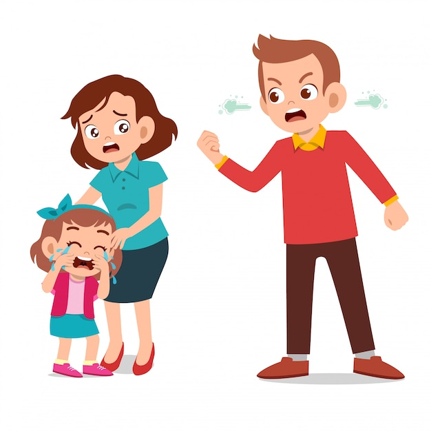 Kids cry with parent fighting ague Premium Vector