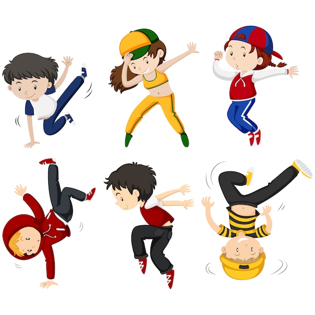 Kids Dancing Collection Free Vector