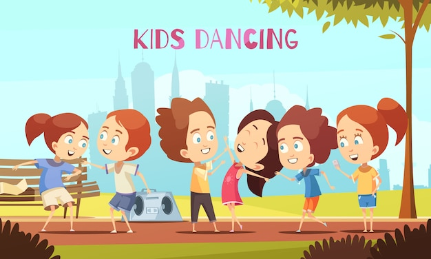 Kids dancing vector illustration Free Vector