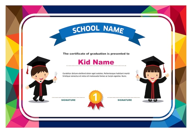 kids diploma certificate colorful background design template vector