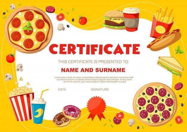 Детский диплом с закусками и напитками Premium векторы